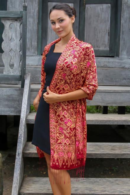 Artisan Crafted Geometric Silk Patterned Shawl 'Jakarta Lady'