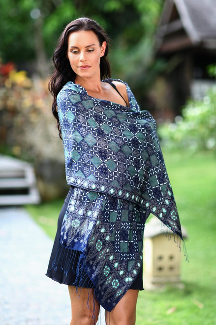 Fair Trade Batik Silk Patterned Blue Shawl 'Java Starlight'