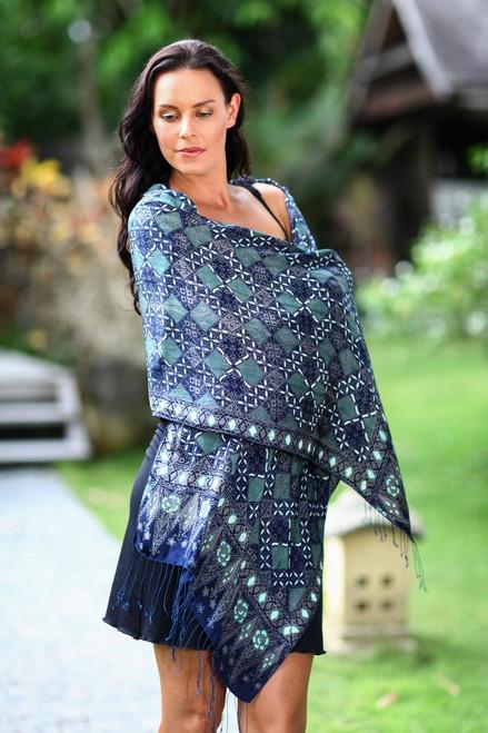 Fair Trade Batik Silk Patterned Blue Shawl 'Java Starlight'
