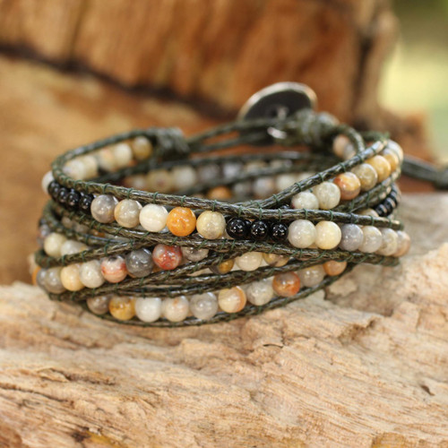 Hand Beaded Jasper and Onyx Wrap Bracelet 'Thai Autumn'