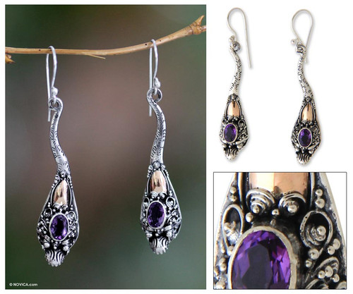 Gold accent amethyst earrings 'Dragon Queen'