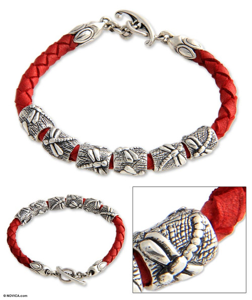 Indonesian Sterling Silver and Leather Bracelet 'Lucky Dragonfly in Red'