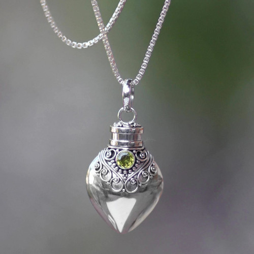 Sterling Silver and Peridot  Locket Necklace 'Precious Bali'