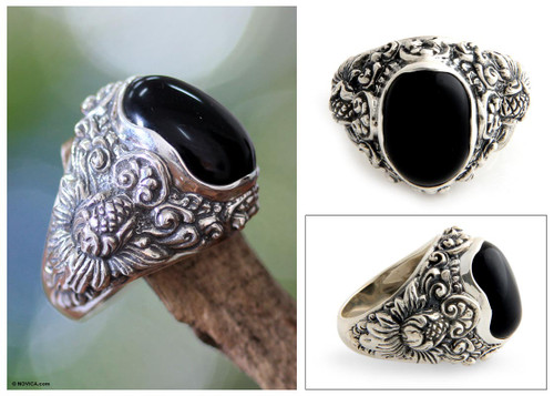 Men's Floral Sterling Silver and Onyx Ring 'Black Sunflower'
