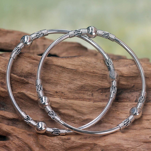 Sterling Silver Bangle Bracelets from Indonesia (Pair) 'Ubud Moons'