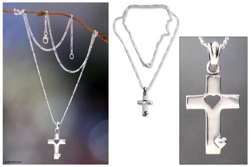 Men's Sterling Silver Cross Necklace 'Soul Believer'