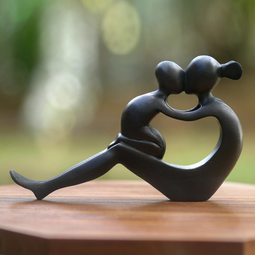 Handcrafted Mother and Child Wood Sculpture 'Her Love Will Never End'
