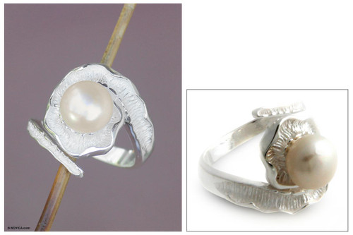 Modern Sterling Silver and Pearl Wrap Ring 'White Passion Fruit'
