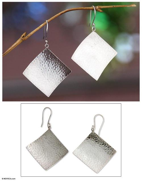 Modern Sterling Silver Dangle Earrings 'Pebbled Diamond'