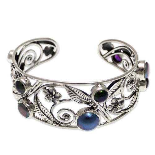 Floral Sterling Silver and Pearl Cuff Bracelet 'Sweet Frangipani'