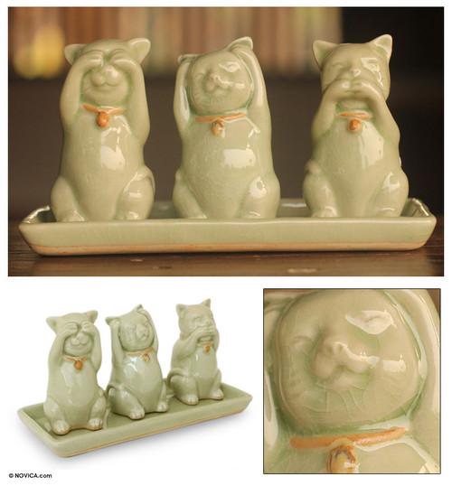 Celadon Ceramic Sculptures (Set of 3) 'Cats Shun Evil'