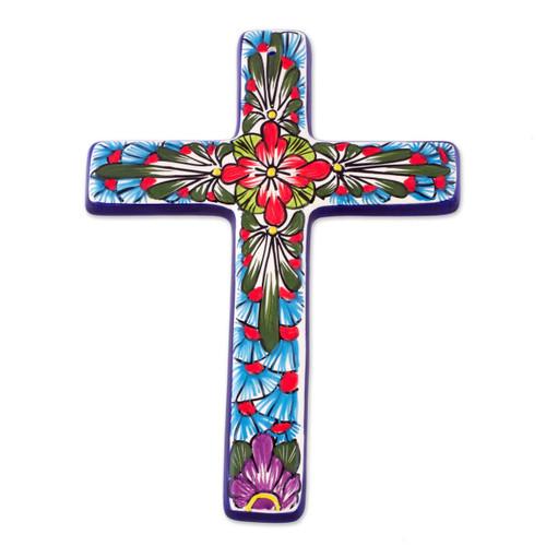 Ceramic cross 'Jerusalem Rose'