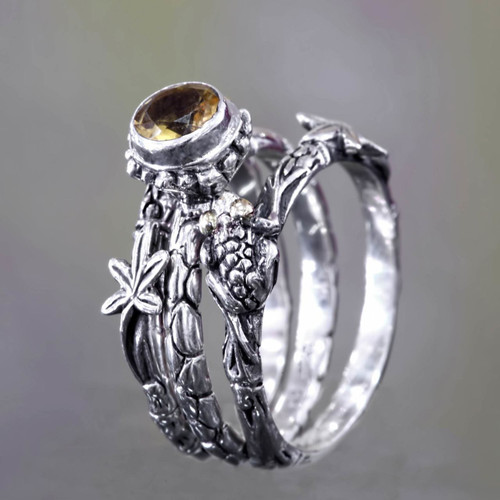 Citrine and Sterling Silver Stacking Rings (set of 3) 'Tree Frog'