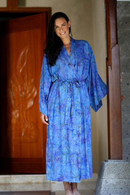 Floral Patterned Robe 'Blue Anemone'