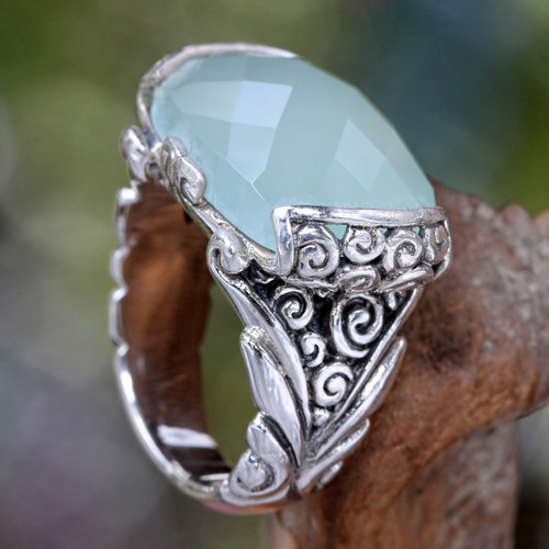 Sterling Silver and Chalcedony Cocktail Ring 'Blue Depths'