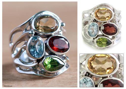 Handcrafted Sterling Silver Multigem Cocktail Ring 'Splendid Colors'