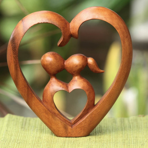 Hand Carved Heart Sculpture 'Story of Love'