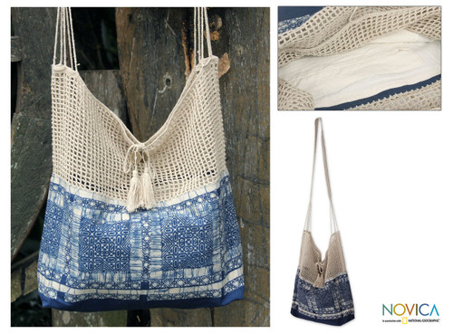 Handmade Batik Cotton and Hemp Shoulder Bag  'Hmong Indigo'