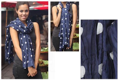 Batik scarf 'Blue Polka Retro'