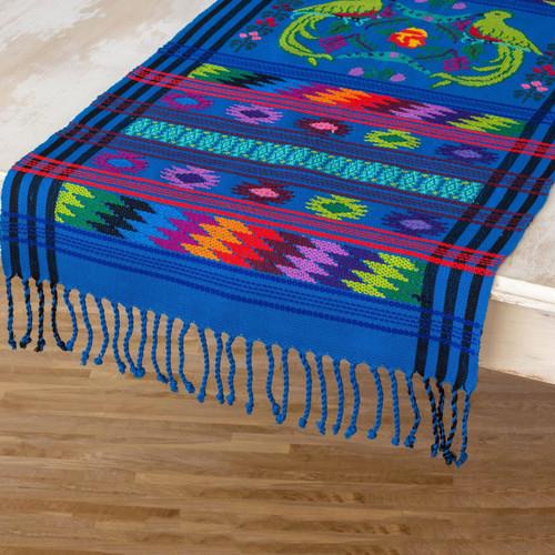 Cotton table runner 'Quetzal Heaven'