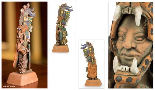 Aztec Museum Replica Ceramic Sculpture (Medium) 'Jaguar Warrior'