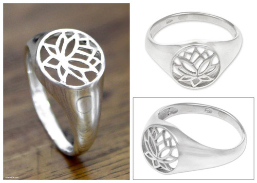 Sterling Silver Flower Ring 'Balinese Lotus'