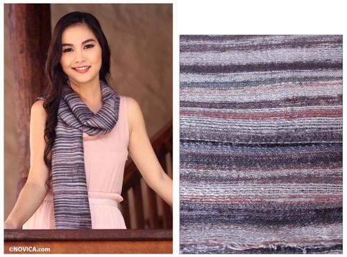 Handcrafted Batik Silk Scarf 'Mae Nam Khong Mist'