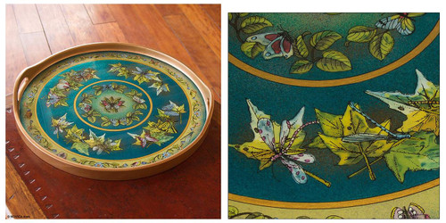 Painted glass tray 'Turquoise Sky'
