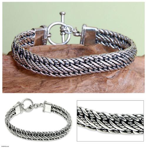 Men's Silver Bracelet Sterling 925 Handmade 'Balinese Centipede'