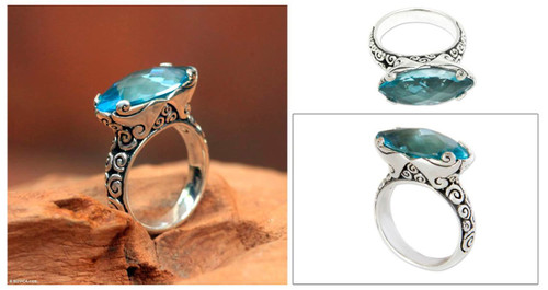 Blue Topaz 925 Silver Cocktail Ring 'Tranquil Sea'
