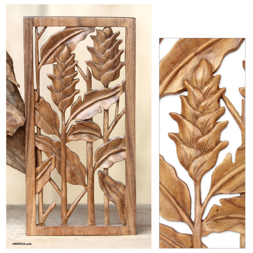 Floral Balinese Relief Panel Hand Carved Wall Sculpture 'Balinese Heliconia'