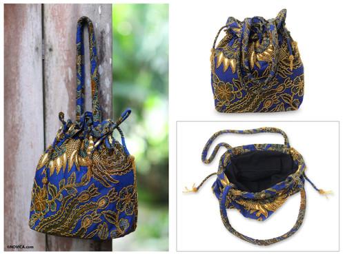 Beaded Blue Cotton Batik Shoulder Bag 'Javanese Bluebird'