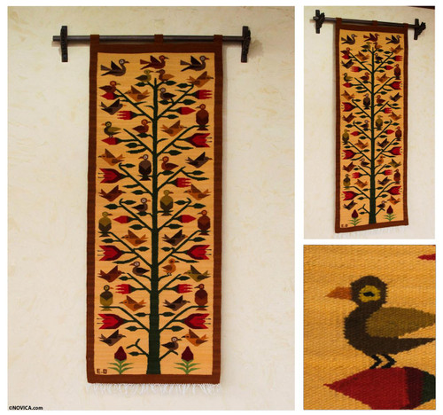 Andean Earth Tone Wool Tapestry with Birds (2x5) 'Birds of Peru'