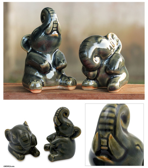 Handcrafted Dark Green Celadon Ceramic Elephants (Pair) 'Happy Dark Green Elephants'