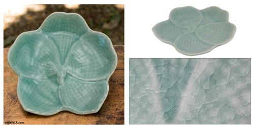 Floral Celadon Ceramic Serving Plate 'Light Blue Vanda'