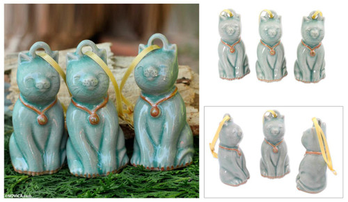Artisan Crafted Celadon Ceramic Ornaments (set of 3) 'Light Blue Festive Cats'