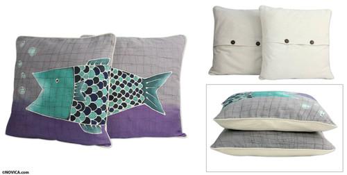 Handmade Cotton Batik Cushion Covers (Pair) 'Lucky Thai Fish'