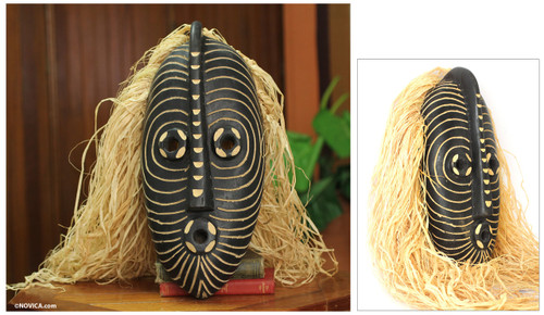 Hand Carved African Mask with Raffia 'Northern Water Spirit'