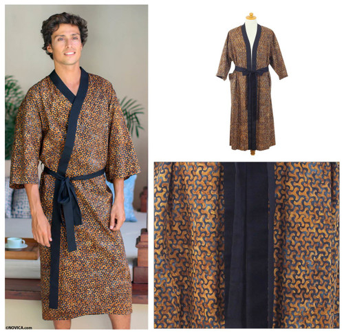 Men's Cotton Robe in Hand Stamped Batik 'Copper Puzzle'