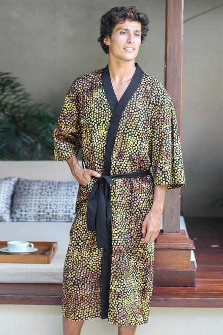 Men's Cotton Robe in Hand Stamped Batik 'Java Gold'