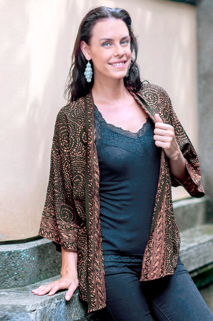 Brown and Black Javanese Batik Rayon Jacket 'Javanese Chocolate'