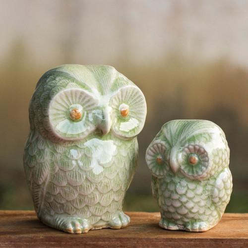 Celadon Ceramic Figurines from Thailand (pair) 'Little Light Green Owls'
