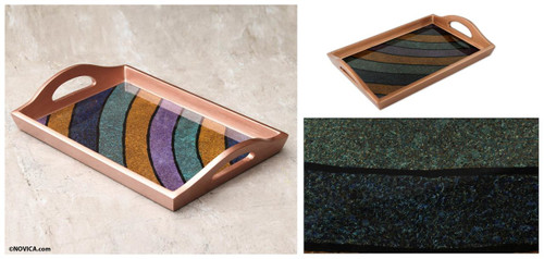 Painted Glass Handcrafted Multi-color Tray 'Mineral Memoirs'