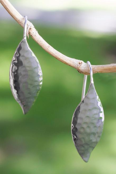 Taxco Silver Jewelry Handcrafted Earrings 'Dewy Leaves'
