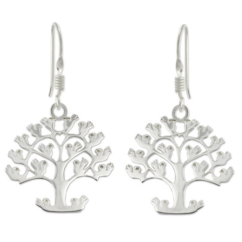Handcrafted Sterling Silver Earrings from Taxco Jewelry 'Tree of Birds'