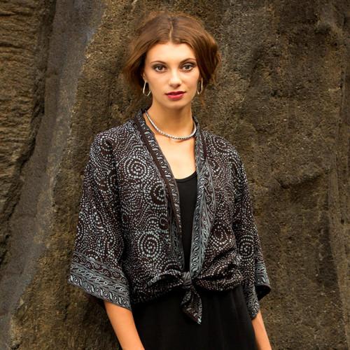 Gray and Black Javanese Batik Style Rayon Jacket 'Javanese Dove'