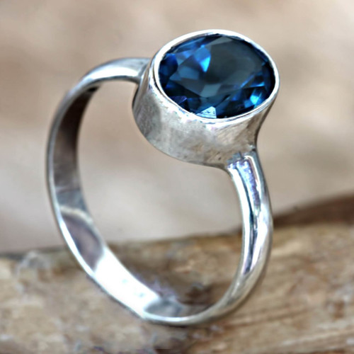 London Blue Topaz and Sterling Silver Ring 'True Emotion'