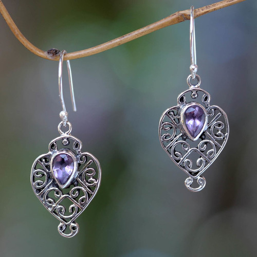 Earrings Handcrafted in Sterling Silver and Amethyst 'Hibiscus Dew'