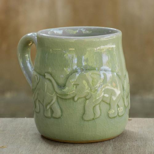 Handcrafted Glazed Celadon Ceramic Mug (9 oz) 'Jade Elephant Parade'