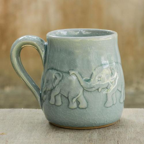 Handcrafted Glazed Celadon Ceramic Mug (9 oz) 'Light Blue Elephant Parade'